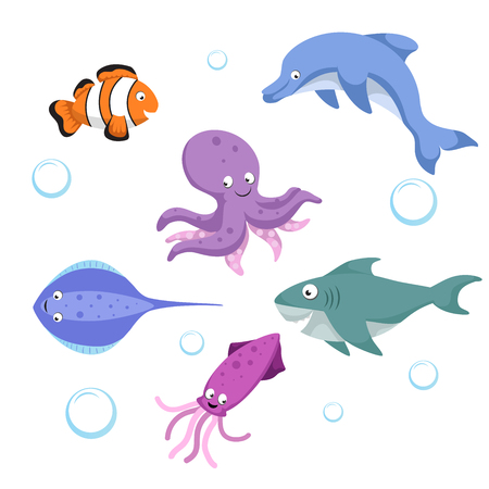 Vector cartoon different sea and ocean animals set. Isolated vector illustration. Clownl fish, octopus, stingray, shark, dolphin, cuttlefish.