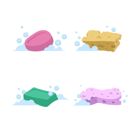 Trendy cartoon style bath and health care set. Yellow and green soap, and pink and green sponges with bubbles.
