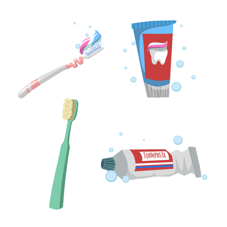 Cartoon flat style tooth care icons set. Tubes with toothpaste and different colors toothbrushes. Vettoriali