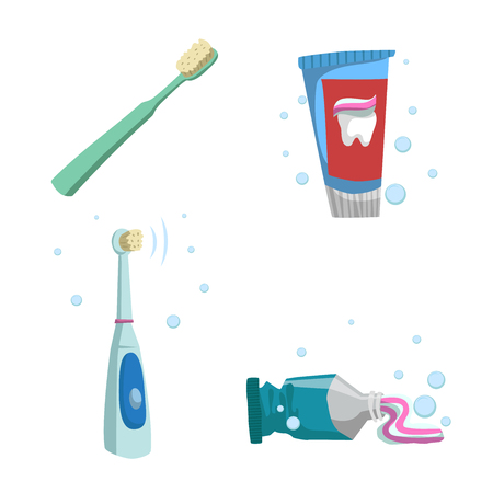 Cartoon flat style tooth care icons set. Tubes with toothpaste and different colors tootjbrushes. Illustration