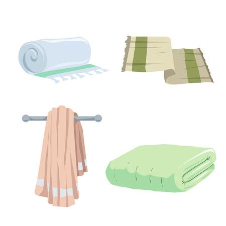 Trendy cartoon style towels cion set. Bath, home, hotel flat symbols. Vector hygiene illustration collection.