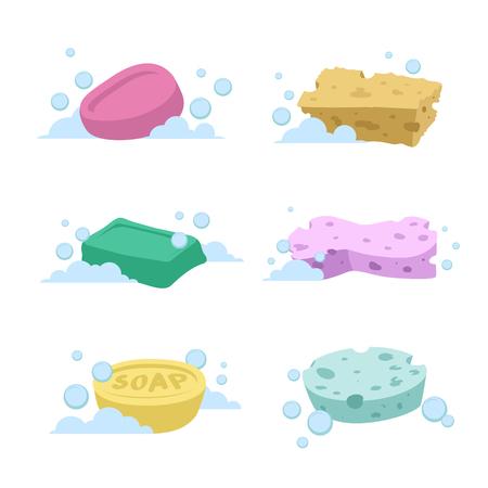 トレンディな漫画風風呂と健康管理を設定します。さまざまな色の石鹸や泡と spoonges。
