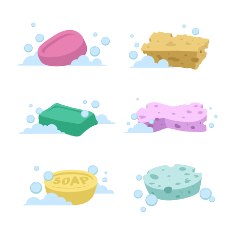 Trendy cartoon style bath and health care set. Different colors soaps and spoonges with bubbles. Vectores