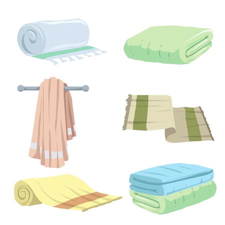 유행 만화 스타일 수건 아이콘이 설정합니다. 목욕, 집, 호텔 플랫 기호. 벡터 위생 그림 컬렉션입니다. 일러스트