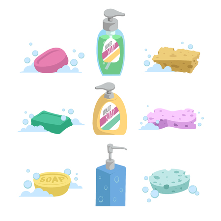Cartoon clean bath set. Shampoo and liquid soap with dispenser, soap and colorful spoonges. Trendy stylized vector icon collection.
