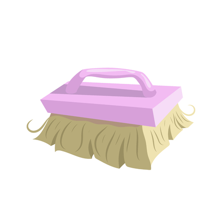 Cartoon vintage trendy icon of cleaning bristle brush. Housework vector simple gradient icon. Pink handle. Illustration