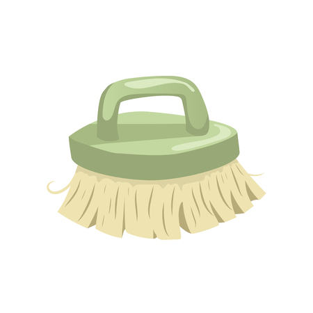 bristles: Cartoon vintage trendy icon of cleaning bristle brush. Housework vector simple gradient icon. green handle.
