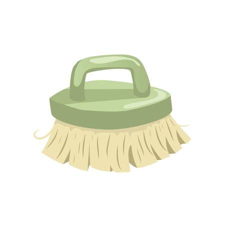 Icono de moda de cosecha de dibujos animados de cepillo de cerdas de limpieza. Vector de vector de la casa simple icono de degradado. mango verde Foto de archivo - 83465485