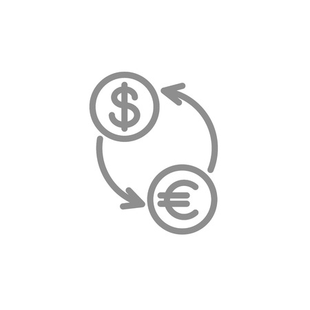 Exchange simple line icon. Business and finance vector. Çizim