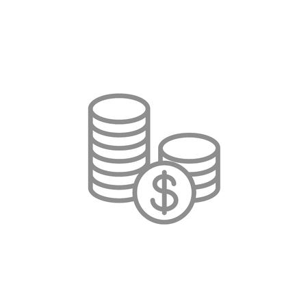 동전 아이콘의 스택입니다. 비즈니스 및 금융 벡터입니다. 일러스트