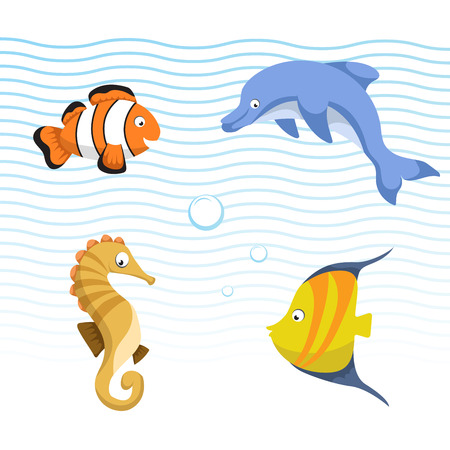 Vector cute different sea and ocean animals set. Isolated vector illustration. Colorful striped fish, seahorse, clown fish, dolphin. Illustration