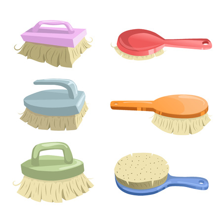 Cartoon trendy icon set of cleaning brushes. Housework vector simple gradient icons. Orange, green, pink, red and blue shiny brushes. Simple gradients. Çizim