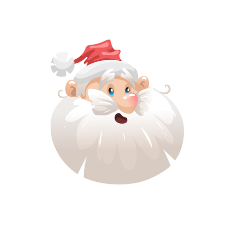 Funny cartoon style surpised santa in hat head  icon. Emotion illustration. Christmas seasonal vector. Simple gradient artwork.