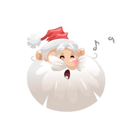 Funny cartoon style sing song santa in hat head icon. Noel illustration. Christmas seasonal vector. Simple gradient emoji artwork.