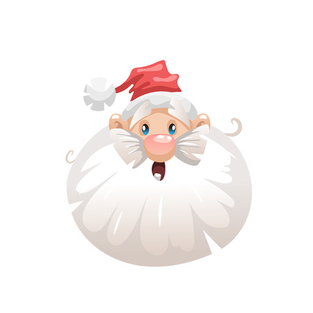 Funny cartoon style surprised santa in hat head  icon front view. Emotion illustration. Christmas seasonal vector. Simple gradient artwork.