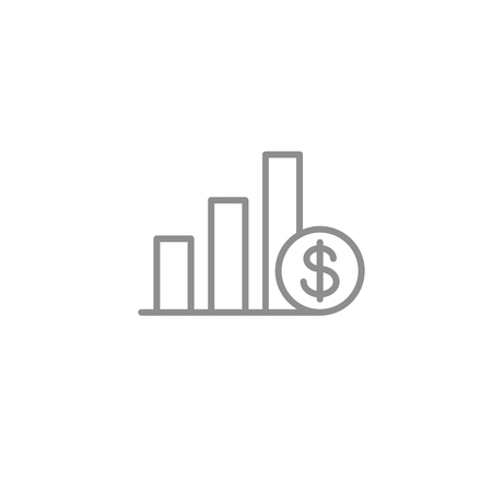 Chart line icon with dollar coin.
