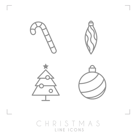 Thin line christmas icons. Decoration ball, christmas tree, candy cane. Simple trendy design.