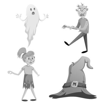 Cartoon monochrome halloween symbols set. Funny ghost, walking zombie, zombie girl without hand and witch hat with belt.