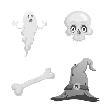 Cartoon monochrome halloween symbols set. Funny ghost, skull with eyes, bone and witch hat with belt. Halloween party black and white design elements. Illustration