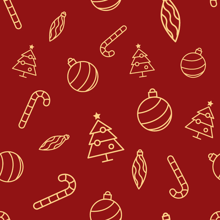 Christmas seamless red pattern with simple yellow icons. Ornament ball, ornament icicle, xmas tree and candy cane.