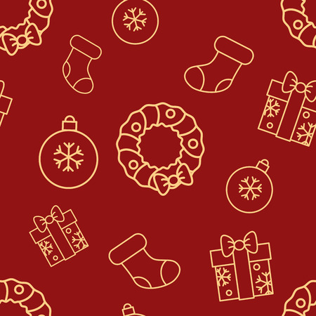 Christmas seamless red pattern with simple yellow icons. Ornament ball, gift box with bow, sock and door wreath