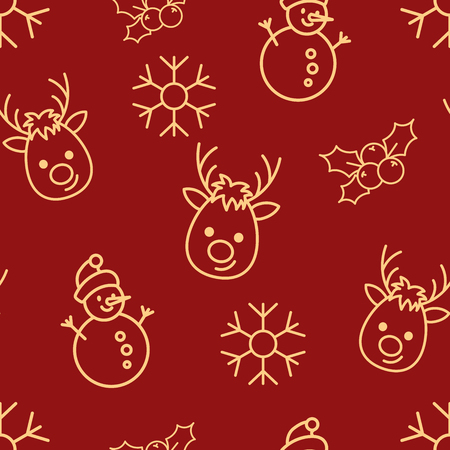 Christmas seamless red pattern with simple yellow icons. Snowman, snowflake, deer and holly berry.