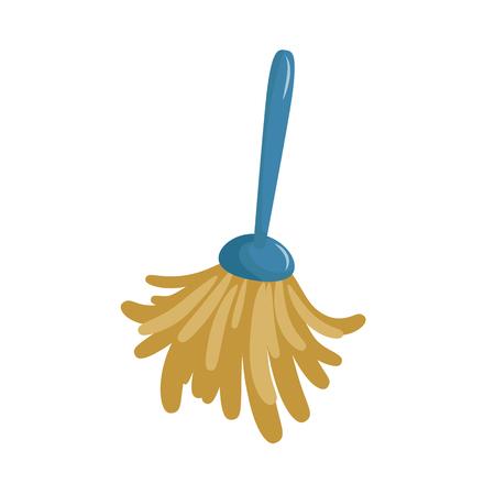 Cartoon eenvoudige veer stofdoek pictogram. Lente schoonmaak stofdoek borstel pictogram geïsoleerd op een witte achtergrond. Vector illustratie.