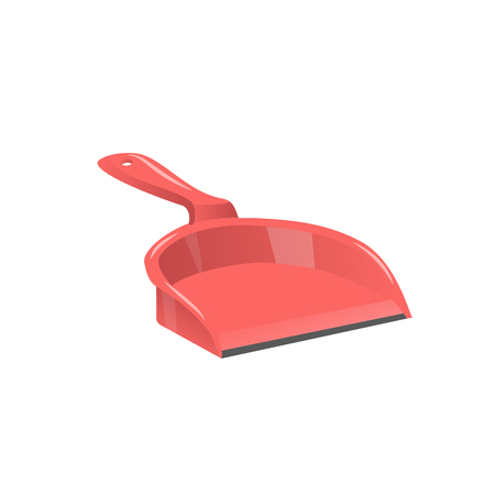 Cartoon trendy style red dustpan. Cleanup and hygiene vector icon illustration.