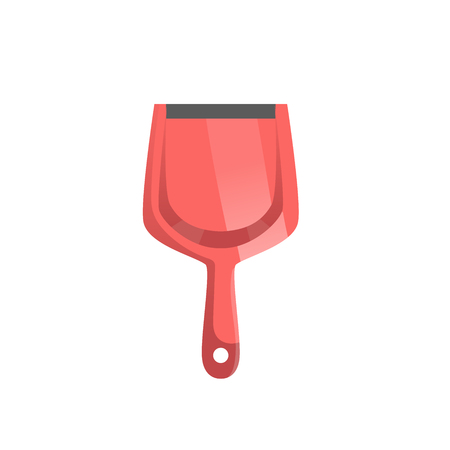 Cartoon trendy style red dustpan top view. Cleanup and hygiene vector icon illustration.