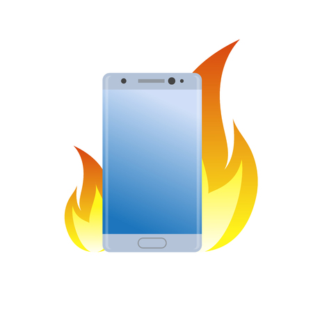 Modern smartphone under fire icon. Burn battery cell phone for bad quality, danger device simple gradient symbol.