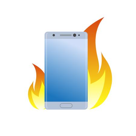 Smartphone moderno sotto l'icona di fuoco. Brucia il telefono cellulare della batteria per cattiva qualità, il pericolo è semplice simbolo gradiente. Archivio Fotografico - 85280963