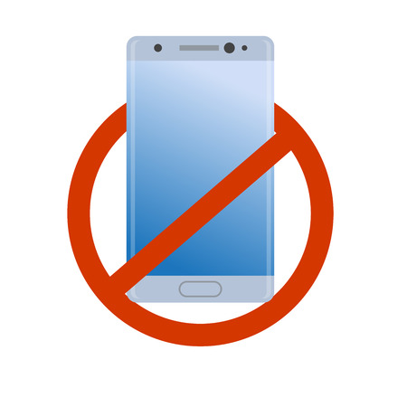 lithium: No modern smartphone icon. Forbidden cell phone, danger device simple gradient symbol. Illustration