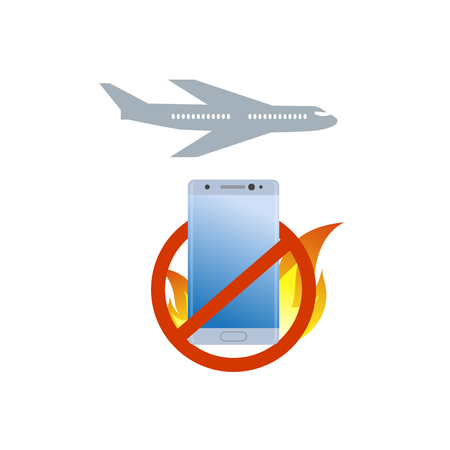 lithium: No burning smartphone on board icon. Bad quality cell phone for Airplane prohibition sign. Illustration