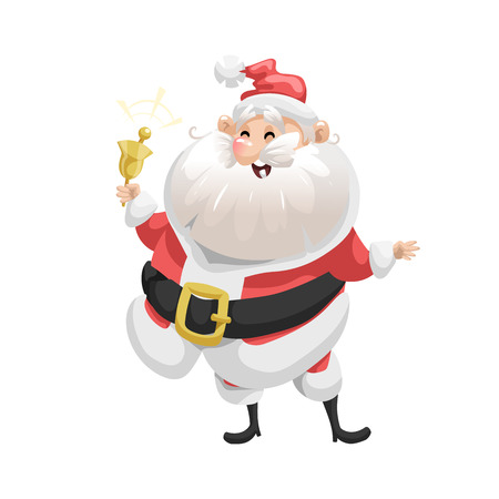 Funny cartoon style laughs Santa Claus  with ring bell character icon. Emotion illustration. Christmas seasonal vector. Simple gradient artwork.