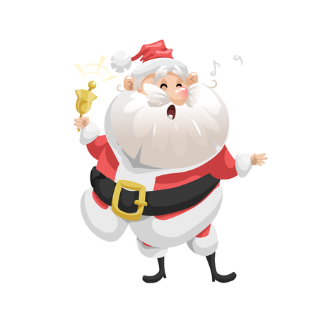 Funny cartoon style singing song Santa Claus with ring bell character icon. Emotion illustration. Christmas seasonal vector. Simple gradient artwork.