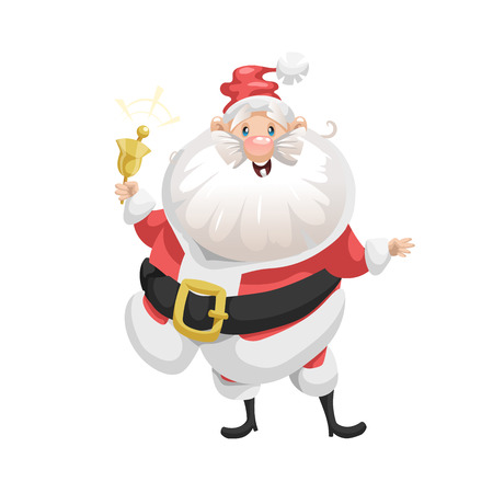 Funny cartoon style smiling Santa Claus with ring bell character icon. Emotion illustration. Christmas seasonal vector. Simple gradient artwork. Çizim