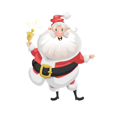 Lustige Cartoon-Stil lächelnd Santa Claus mit Ring Glocke Charakter Symbol. Emotionsillustration Weihnachten Saison Vektor. Einfache Farbverlaufsgrafik
