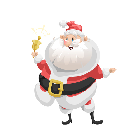 Funny cartoon style smiling Santa Claus with ring bell character icon. Emotion illustration. Christmas seasonal vector. Simple gradient artwork. Illustration