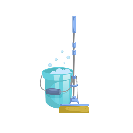 Cartoon house and apartment cleaning service icon.