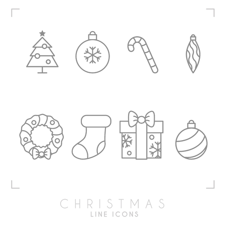 Thin line christmas icons set. Decoration ball, christmas tree, candy cane, decoration wreath, sock and gift box with snowflakes . Simple trendy design.