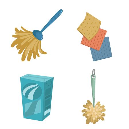 Cartoon Design Reinigung Service Icons Set Standard-Bild - 86145347