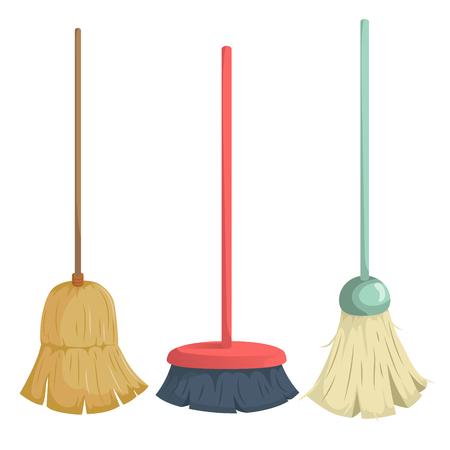 Cartoon trendy broom icons set Illustration