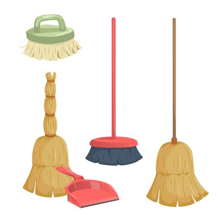 Cartoon trendy cleaning service icons set Ilustração