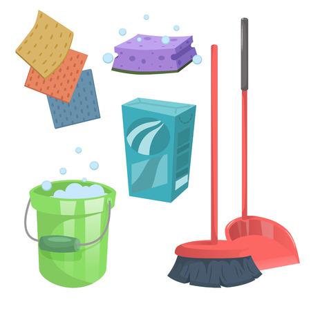 Cartoon trendy schoonmaak service iconen set