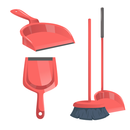 Cartoon trendy cleaning service icons set Illustration
