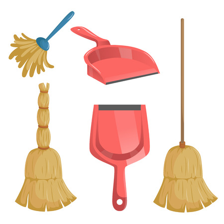 Cartoon trendy cleaning service icons set.