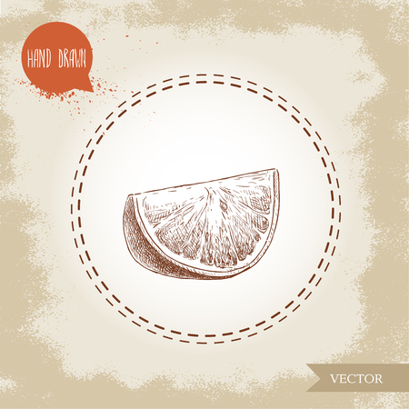Hand drawn sketch style orange fruit segment slice. Hand made vector citrus fruit illustration isolated on old looking background. Imagens - 86145358