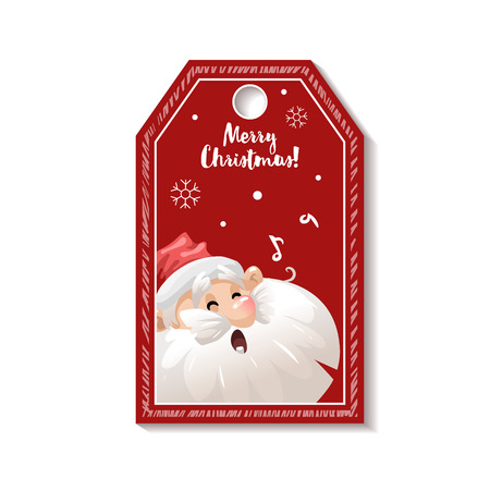 Cartoon looking red Christmas tag or label  with singing song Santa Claus in hat. Xmas gift tag, invitation banner, sale or discount poster.