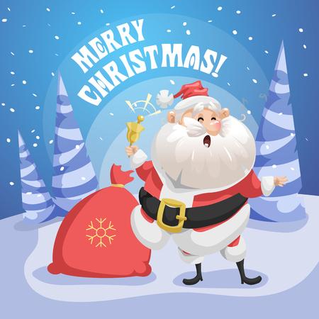 행복 노래 노래 선물 자루와 링 벨 포리스트에 산타 클로스. 메리 크리스마스 포스터입니다. 휴일 간단한 그라데이션 그림입니다.