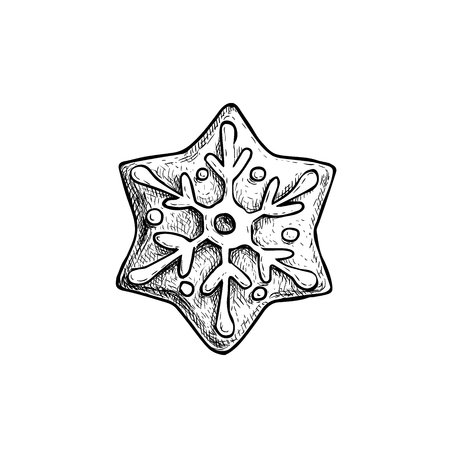 Hand drawn sketch snowflake star icing decorated. Traditional Christmas cookie. Vector hand made illustration. Illustration